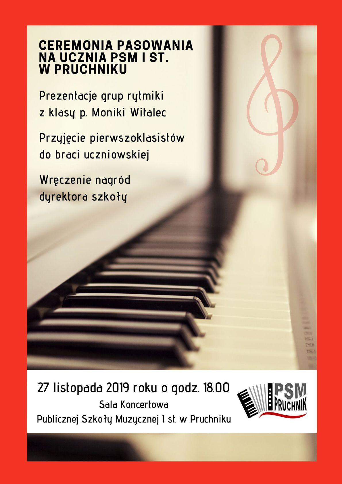 Plakat na WWW - Pasowanie PSM I st. Pruchnik 2019